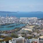 大濠公園上空から博多湾を望む
